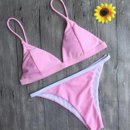 Cute pure pink edge white two piece..