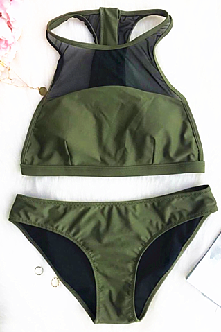 Army green high neck splicing gauze two piece bikini