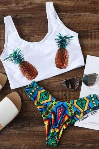 Fashion pineapple two bottom blue geometric print