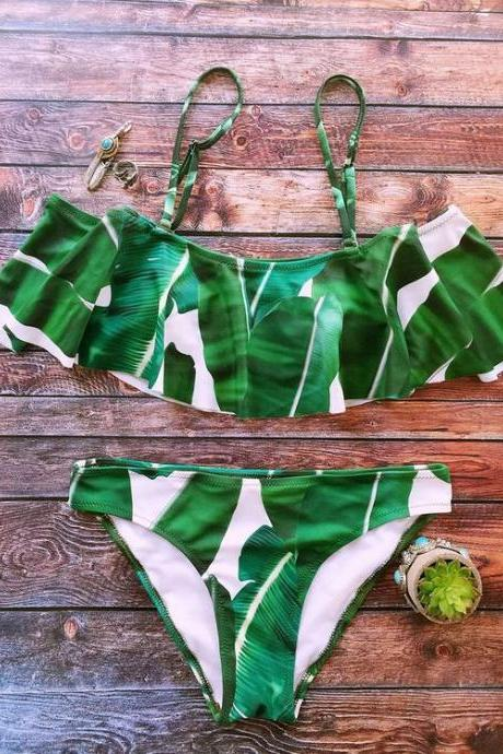 Sexy green leaf print off shoulder two piece bikini