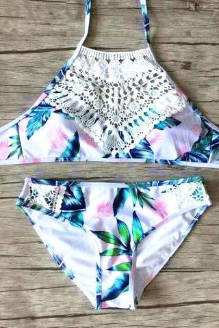 Fashion pink green leaf print high neck halter back knot white weave hollow two piece bikini swimsuit