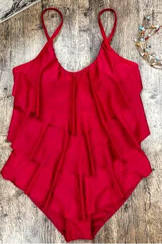 Plus size 3 XL Sexy pure red layered lotus vest one piece bikini show thin