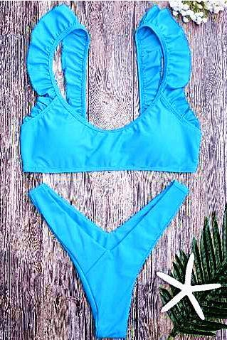 Fashion women blue lotus Pleated Edge bottom V shape two piece bikini