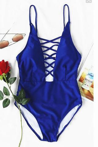 Solid one-piece low cut blue chest cross one piece bikinis swimwear bathsuit