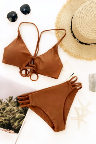 Sexy Strappy Bikini Set Retro Swimsuit Swimwear pure khaki bottom side hollow two piece bikini