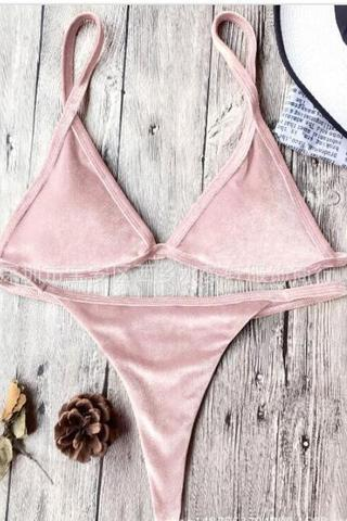 Sexy simple small straps velvet pure color pink two piece bikini
