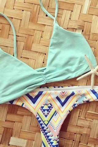 Sexy women fashion upper blue bottom geometry print two piece bikini