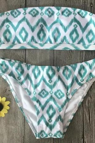 Sexy hot green white wave line geometry print strapless two piece bikini