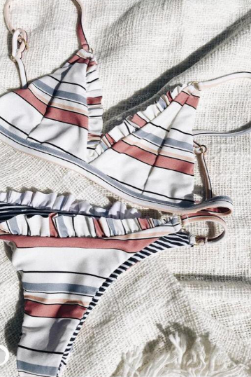 Two-Piece Bikini Triangle Top and Bottom with Colourful Stripes and Frills