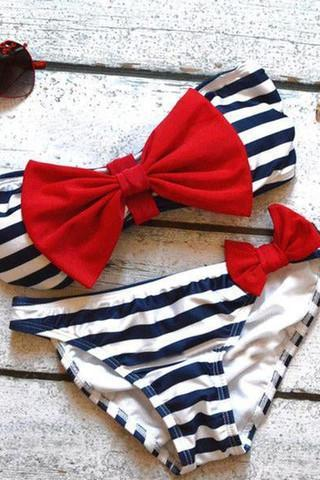 HOT STRIPE BOW TWO PIECE BIKINIS