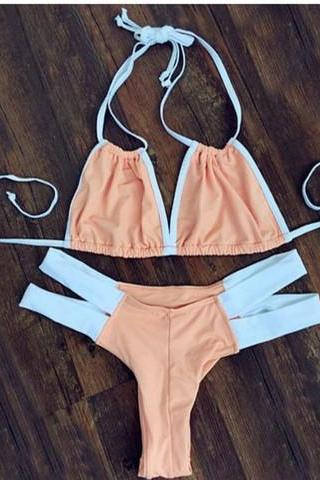 CUTE NUDE WHITE TWO STRAPS TWO PIECE BIKINI