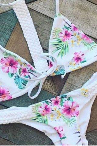 Hand-woven floral braid bikini TWO PIECE BIKINIS