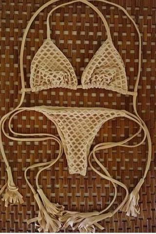 CUTE SEXY BROWN NET TWO PIECE BIKINI