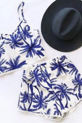 CUTE BLUE TREE TWO PIECE SUIT