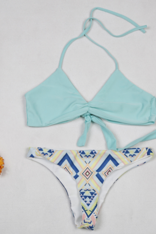 FASHION SKY BLUE V TWO PIECE SWIMWEAR BATHSUIT