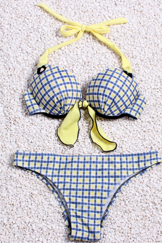 BLUE YELLOW KNOT PLAID TWO PIECE BIKINI