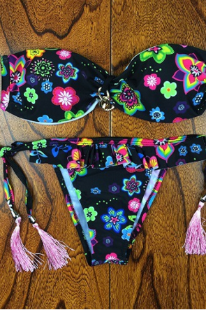 BLACK FLORAL STRAPLESS TWO PIECE BIKINI