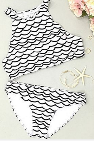 HALTER NECK WHITE WAVE TWO PIECE BIKINI