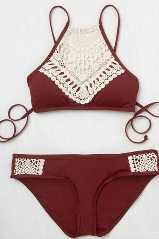 Wine red knitted Halter Neck lace stitching bikini