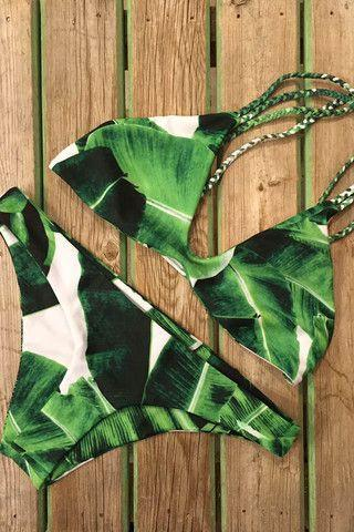 CUTE LEAF BRAID GREEN TWO PIECE BIKINI