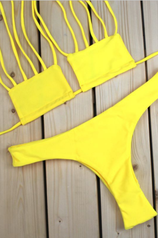 Hot sexy yellow two piece bikini set