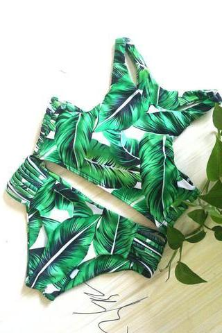 Swimsuit Summer Beach Sexy Hot New Arrival Leaf Print Green Bikini
