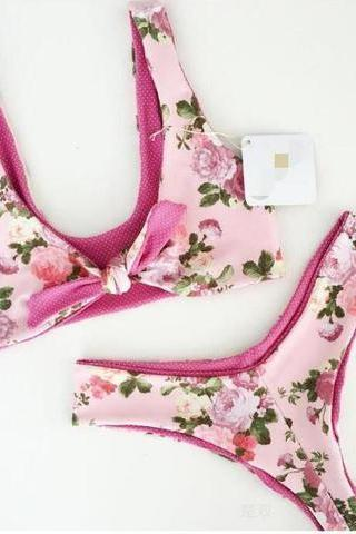 Pink sexy chest bowknot floral print two piece bikini set