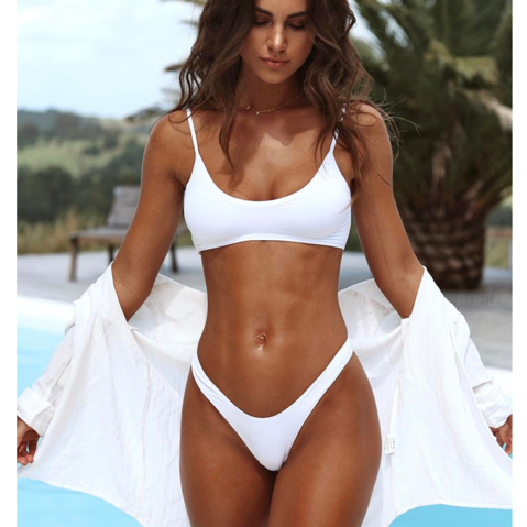 Sexy pure white vest type simple two piece bikini swimsuit bathing suit