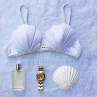 WHITE CUTE SHELL ONE PIECE TOP