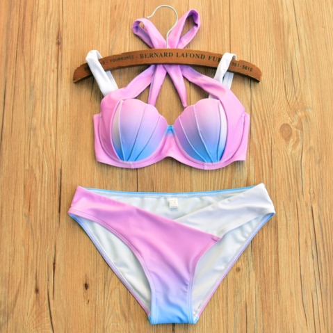 Fashion Multicolor Gradient color back knot gather type Shell bikini two piece bikini